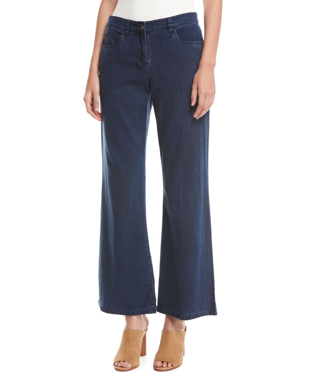 Tencel® Denim Wide-Leg Pants, Midnight