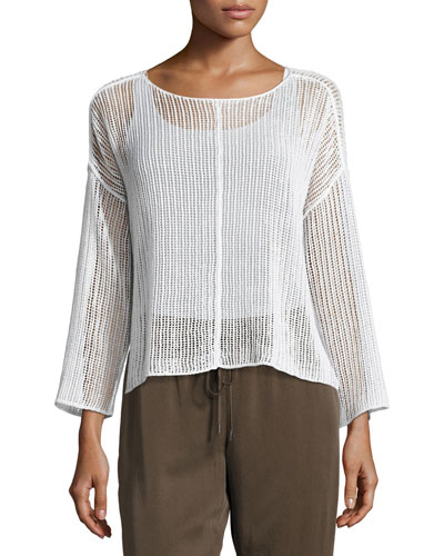 Bracelet-Sleeve Knit Mesh Top