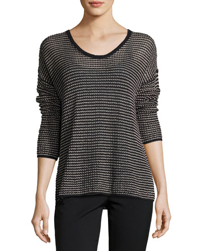 Crisp Organic Cotton-Blend Mesh Top