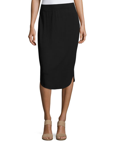 Calf-Length Shirttail Pencil Skirt, Black, Petite