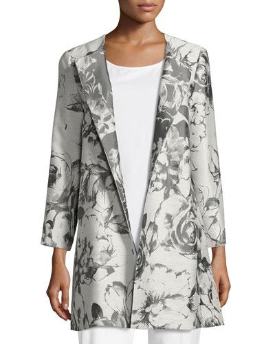 Karen Botanical Splash Floral-Jacquard Jacket