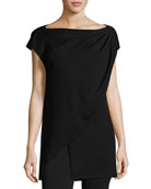 Cap-Sleeve Asymmetric Layered Sweater, Black