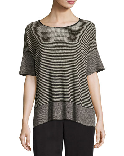 Half-Sleeve Linen Knit Striped Top, Natural/Black, Petite