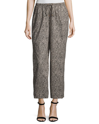 Droplet-Print Wide-Leg Cropped Pants, Petite