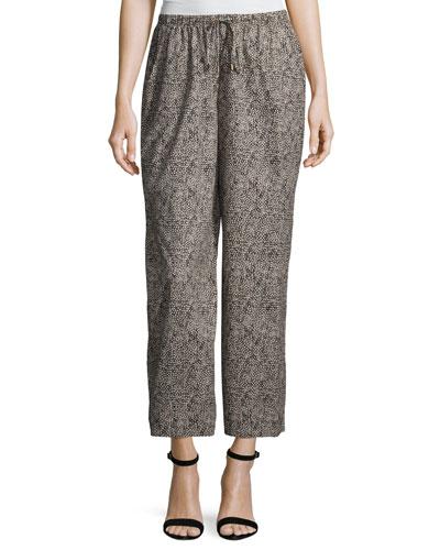 Droplet-Print Wide-Leg Cropped Pants, Plus Size