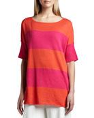 Striped Boxy Sweater, Hot Pink