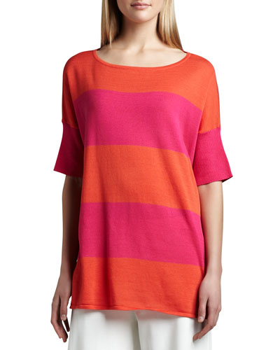 Striped Boxy Sweater, Hot Pink