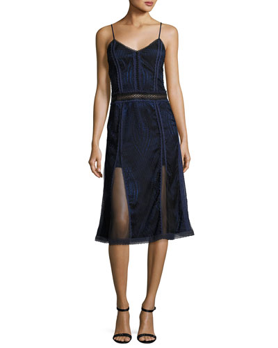 Scallop Ripple Lace Sleeveless Dress, Black/Blue