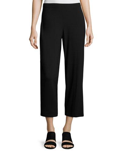 Easy Jersey Cropped Pants, Black, Plus Size