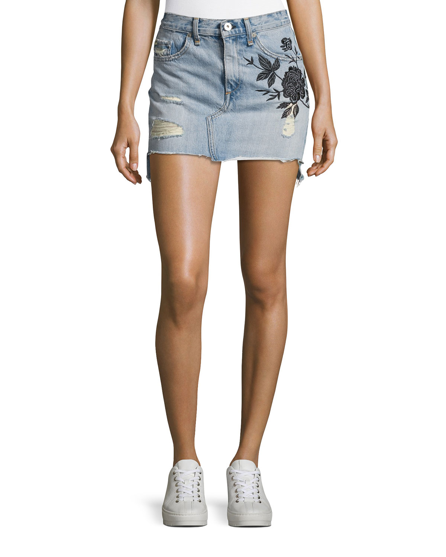 Dive Embroidered Denim Mini Skirt, Indigo