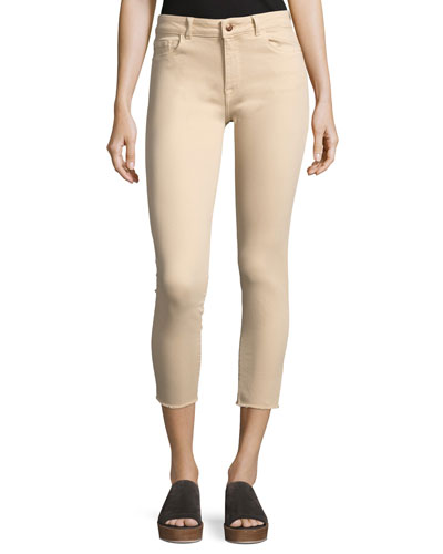 Florence Mid-Rise Skinny Crop Jeans, Beige