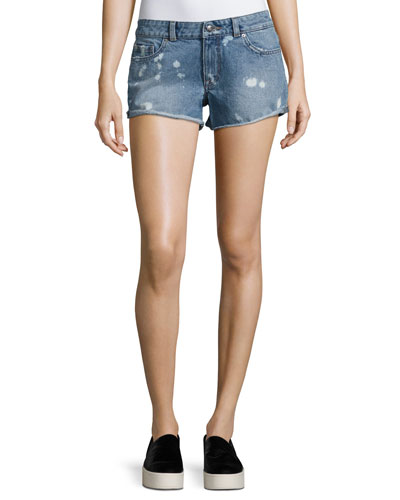 Renee Bleached-Spots Cutoff Denim Shorts, Indigo