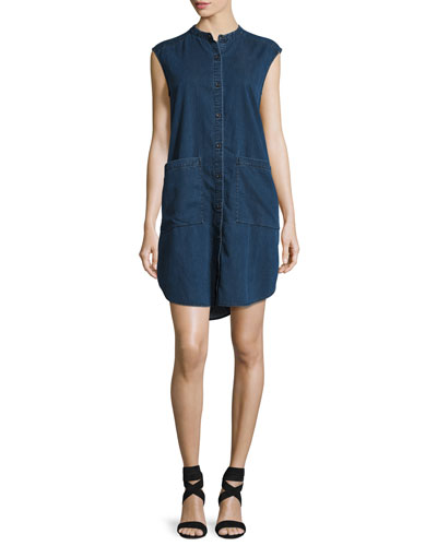 Sleeveless Stretch-Denim Shift Dress, Midnight, Petite