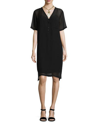 Silk Georgette V-Neck Shift Dress, Black