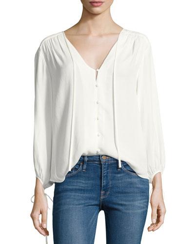 Crepe Lace-Up Bracelet-Sleeves Shirt