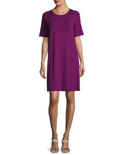 Round-Neck Jersey Shift Dress, Petite