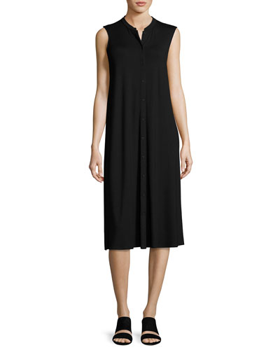 Sleeveless Button-Front Jersey Dress, Petite