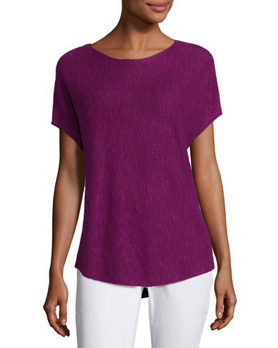Short-Sleeve Boat-Neck Linen/Cotton Box Top, Petite