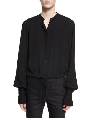 Slit-Back Drawstring-Hem Crepe Top, Black