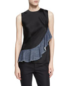 Sateen Sleeveless Denim Ruffle Top, Black