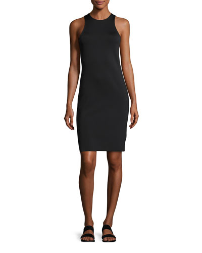 Crew Neck Crepe Tank Dress, Black