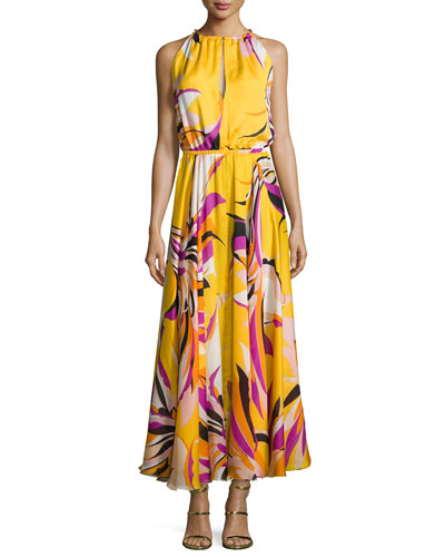Fiore Maya Silk Halter Maxi Dress, Yellow Pattern