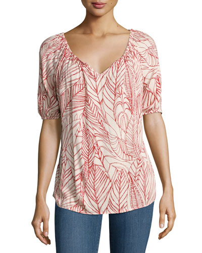 Abiel V-Neck Printed Top, Multi