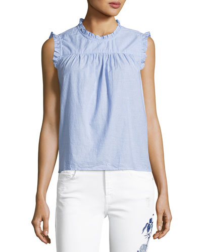 Chenille Sleeveless Cotton Top, Blue