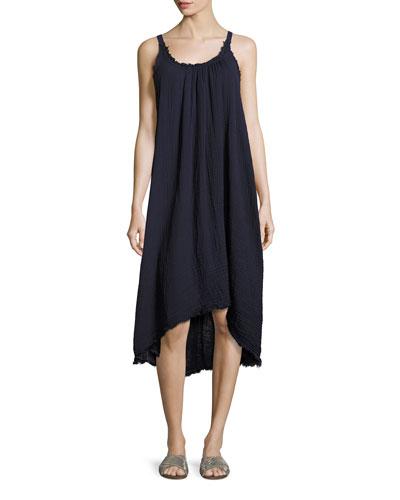 Caprice High-Low Cotton Midi Dress, Blue