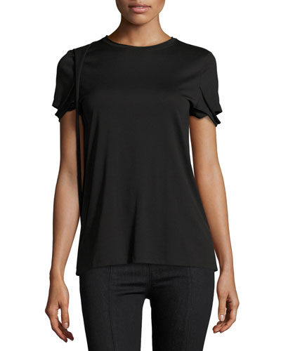 Strappy Pima Cotton T-Shirt, Black