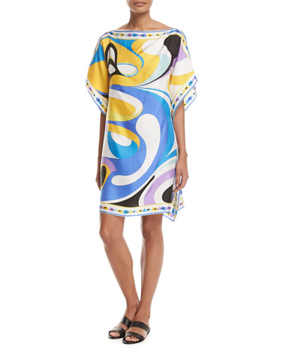 Maschere Short-Sleeve Caftan Coverup, Blue Pattern