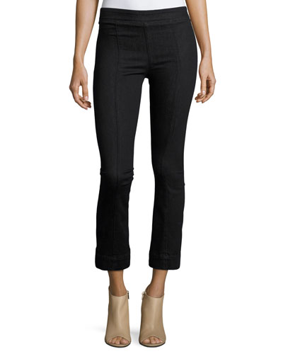 Pull-On Crop Flare Denim Pants, Black