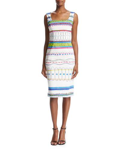 Sleeveless Printed Sheath Dress, White/Multicolor