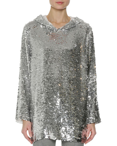 Sequin Long-Sleeve Hoodie Top, Silver