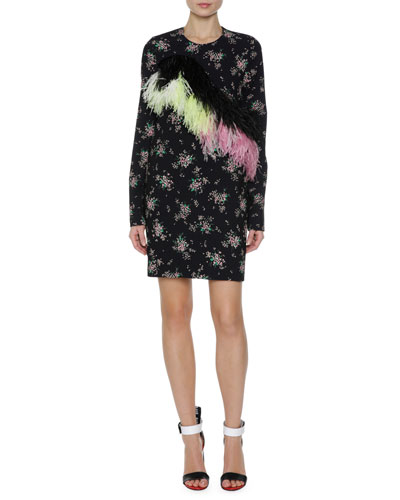 Floral Print Sheath Dress w/ Feather Trim, Black