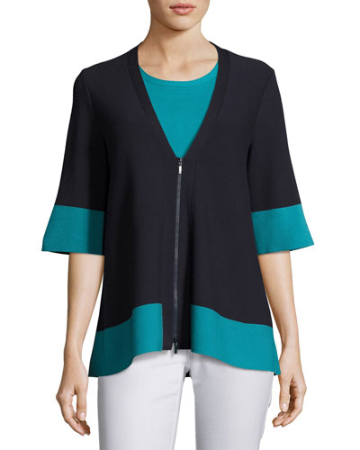Colorblock Matte Crepe Zip Top, Blue-Green