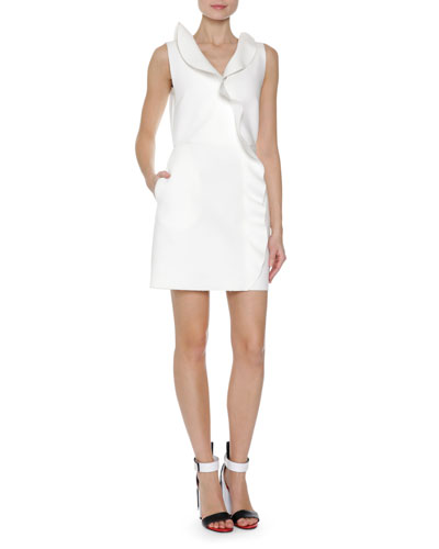 Ruffle Front Sleeveless Sheath Dress, White