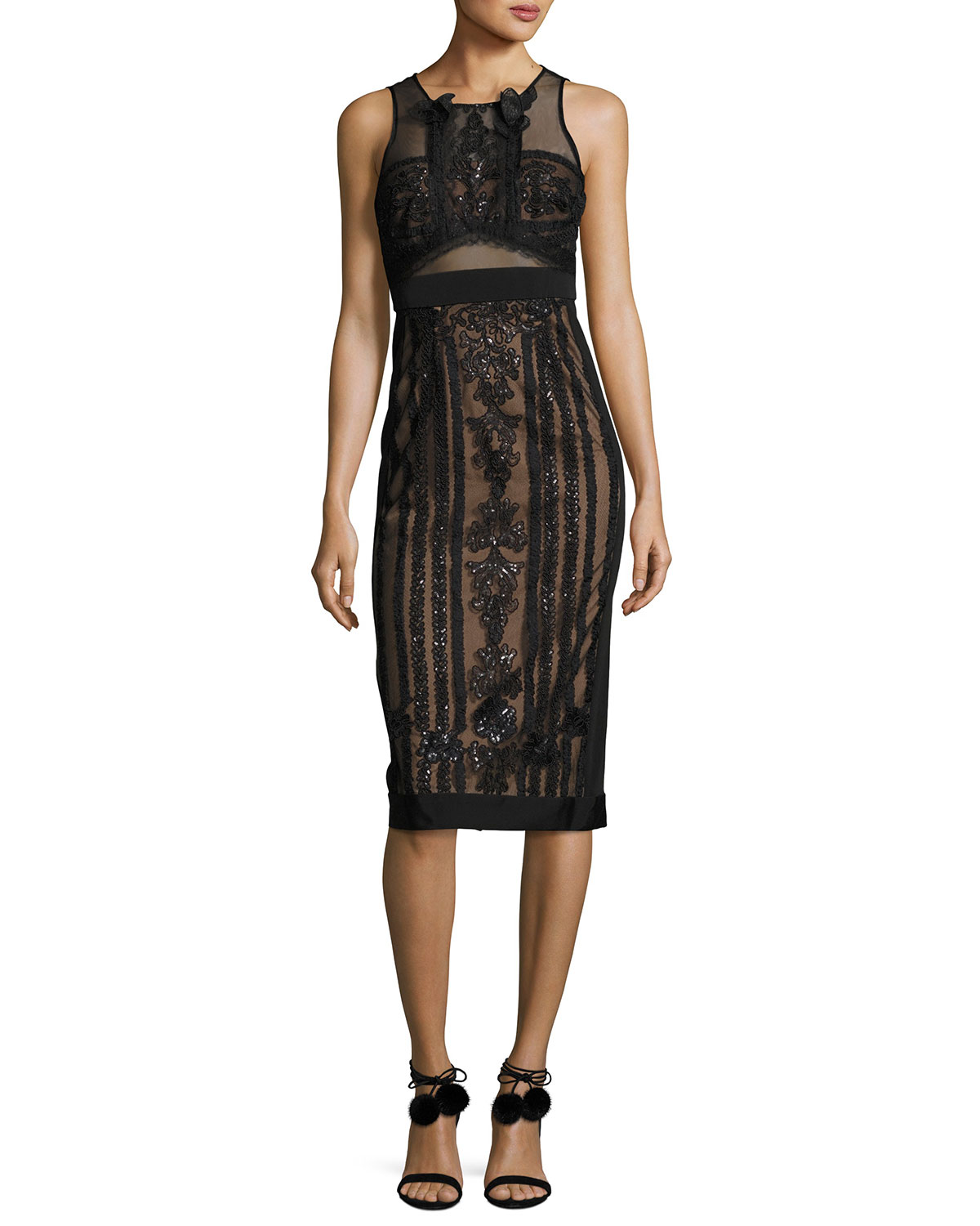 Sleeveless Embellished Semisheer Sheath Cocktail Dress, Black