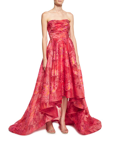 Strapless Floral Fil Coupe High-Low Gown, Fuchsia