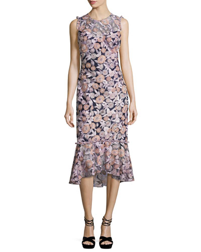 Barlett Sleeveless Floral Midi Dress, Multicolor