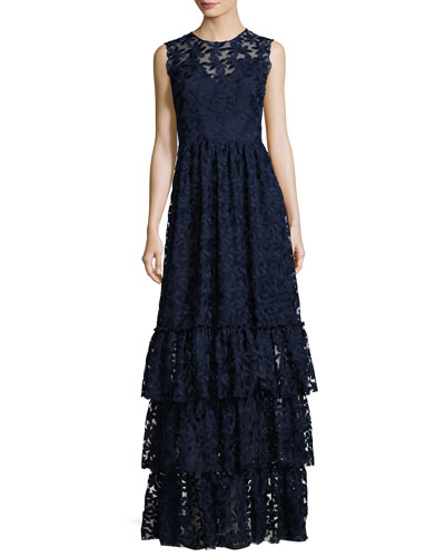Fowler Sleeveless Tiered Lace Gown, Navy