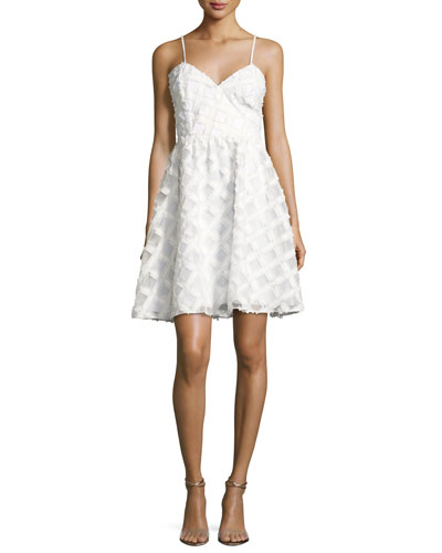 Viola Sleeveless Textured Cocktail Dress, White