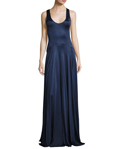 Leora Sleeveless Stretch Satin Circle Gown, Navy
