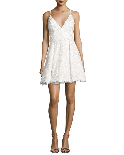Sleeveless Floral Lace Fit-and-Flare Cocktail Dress, Off White/Silver