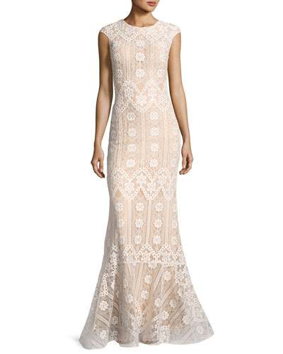 Cap-Sleeve Geometric Lace Mermaid Gown, White/Nude