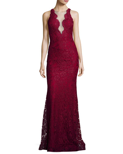 Deep V-Neck Lace Mermaid Gown, Burgundy