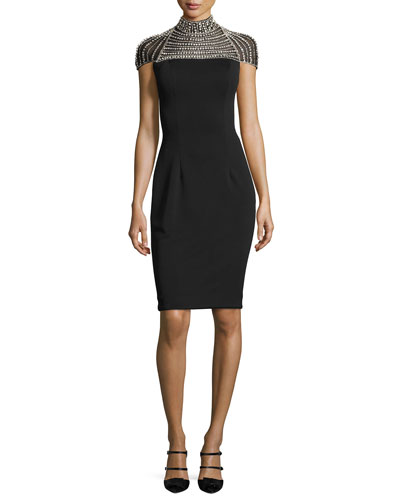 Cap-Sleeve Stretch Crepe Rhinestone Cocktail Dress, Black