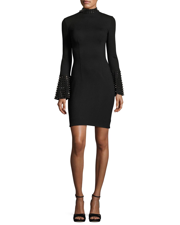 Studded Bell-Sleeve Stretch Crepe Cocktail Dress, Black