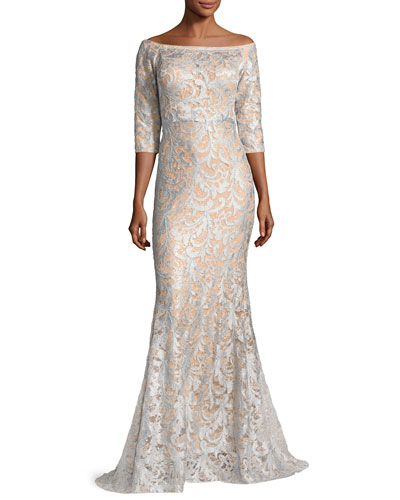3/4-Sleeve Lace Off-the-Shoulder Mermaid Gown, Light Blue/Nude