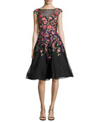 Sleeveless Embroidered Tulle Gown, Black/Multicolor